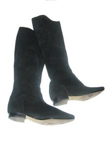 Vintage High Fashion Liz Claiborne Black Slouchy Thigh High Suede Leather Upper Flat Heels Boots