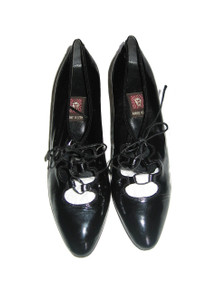 Vintage Rare Anne Klein Shiny Patened Leather Caged Laced Tie Up High Heel Shoes