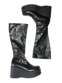 Vintage Steve Madden Duke Black Chunky High Heel Platform Wedge Heels Grunge Goth Punk Club Kid Stretch Pull On Knee High Boots