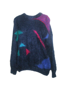 Vintage The Gold Label Designer Collection Blue Multi-Color Abstract Pattern Fuzzy Slouchy Oversize Pullover Sweater
