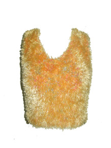 Vintage Peach Multi-Color Chenille Fuzzy V-Neck Sleeveless Cropped Sweater Knit Vest Top