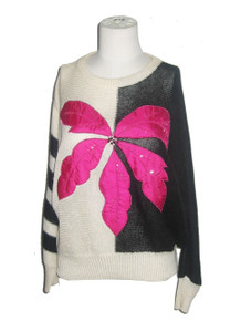 Vintage Janine Lo Color Block Striped Big Flower Applique Embroidered Beaded Scoop Neck Dolman Pullover Slouchy Sweater