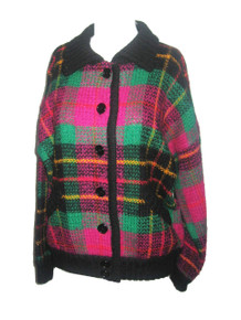 Vintage Marisa Chistiana Multi-Color Plaid Buttoned Oversize Collegiate Boyfriend Sweater Cardigan