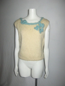 Vintage Cute Sleeveless Scoop Neck Bow Detail Cropped Pullover Wool Sweater Vest Top