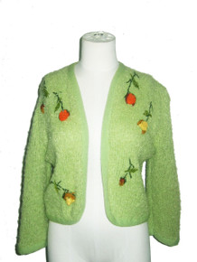 Vintage Exclusive Fashions By Rosanna Green Multicolor Floral Ribbon Felt Embroidered Rhinestone Embellished Sweater Cardigan