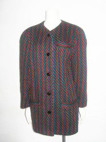 Vintage Jaeger Multicolor Wool Buttoned Boxy Lined Coat Jacket