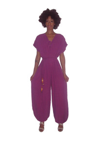 Vintage Club Flamingo Cotton Gauze Orchid Disco  Harem Jumpsuit w/ Braided Wooden Beads Belt