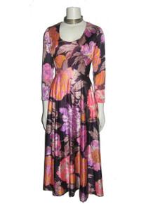 Vintage Stunning Multi-Color Big Floral Print Psychedelic Scoop Neck Disco Mod Boho Fit & Flared Long Dress