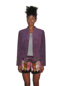 Vintge Saks Fifth Avenue Abe Schrader Purple Scallop Edge Short Cropped Ultra Suede Tuxedo Blazer Jacket