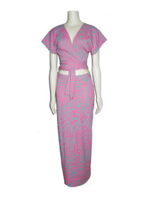 POYZA One Of A Kind Pink Grey Aztec Print Vintage Fabric Crop Tie Waist Shrug & Long Bodycon Skirt 2pc Outfit
