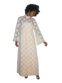 Vintage White Open Floral Lace Multi-functional Long Hostess Wedding Festival Boho Mod Dress