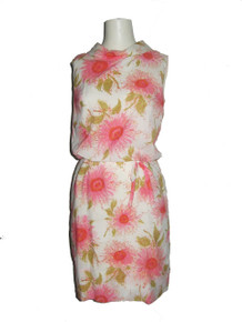 Vintage Off  White Multi-Color Floral Sunflower Print Fold Over Portrait Collar Sleeveless Blouson Short Mini Mod Dress