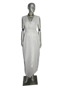 POYZA White Cotton Voile Sleeveless Pointed Handkerchief Hem Caged Belted Iconic Long Dress