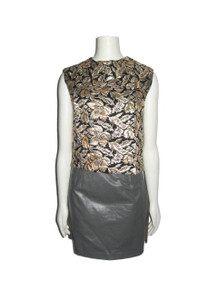 Vintage Intricate Black Metallic Gold Silver Lame Lurex Floral Leaf Brocade Sleeveless Cropped Blouse w/ Bow