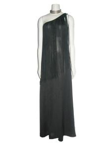 Vintage Stunning Black Asymmetrical One Shoulder Long Overlay Fringe Trim Grecian Disco Mod Wide Leg Palazzo Hostess Dress Jumpsuit