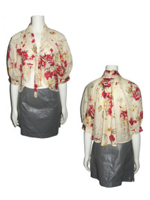 POYZA Biege Multicolor Floral Print Sheer Cotton Voile Tie Neck Puff Bellow Sleeve Cover-up Shrug Jacket