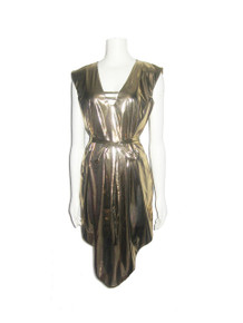 POYZA Metallic Gold Pointed Hem Caged Belted Iconic Short Dress