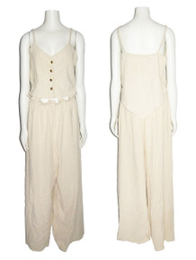 POYZA Natural Textured Cotton Pointed Handkerchief Hem Gold Buttoned Strappy Blouse Vest Top w/ Matching Paper Bag Waist Wide Leg Pants