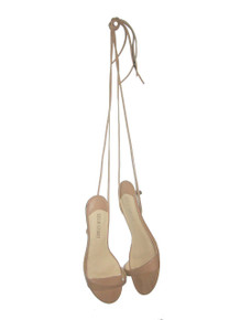 Vintage Colin Stuart Nude Peep Toe Tie Up Strappy Kitten Heels Leather Sandals Shoes