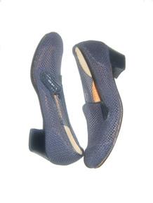 Vintage Stunning Rare Calzaturificio Diamante Made In Italy Vero Cuoio Leather Mesh Chunky Heel Oxford Mod Classic Shoes