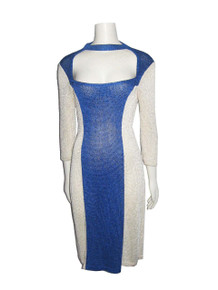 Vintage Blue Ivory Cut Out Neckline Caged Short  Jersey Knit Dress