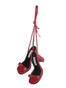 Vintage Steve Madden Alisa Red Peep Toe Tie Up Strappy Chunky High Heels Leather Sandals Shoes