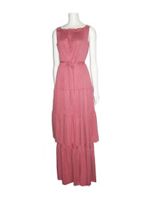 Vintage Toni Todd Rose Pink Ruffle Tier 2pc Dress Long Multi-functional Skirt Tube Dress Outfit Disco Ensemble w/ Belt