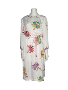 Vintage Sue Brett White Multi-color Floral Print Disco Dress w/ Rope Belt