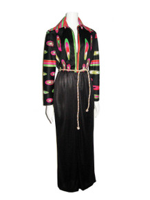 Vintage Artemis Multi-Color Psychedelic Print Black Color Block Long Mod Dress