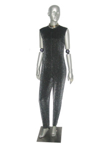Vintage Black Metallic Silver Lurex Sparkle Sleeveless Fitted Stirrup Stretch Knit Bodysuit Jumpsuit