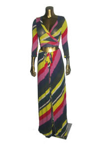 POYZA Multicolor Diagonal Stripe Rayon Stretch 2Pcs Tie Waist Crop Shrug+ Wide Leg Palazzo Wrap Tie Waist Pants