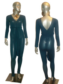 POYZA Teal Blue Rayon Stretch Bodycon V-nk Long Sleeve Stirrup Catsuit Bodysuit Jumpsuit w/ Belt