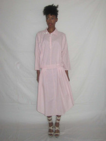 Vintage Norma Kamali Pink White Vertical Horizontal Stripe Avant Garde Drop Waist Curved Hemline Dress