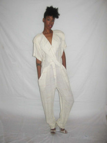 Vintage Off White Multi-color Horizontal Stripe Fold Over Fringe Collar Pleated Jumpsuit