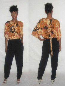 Vintage Phoebe Multicolor Floral Printed Solid Black Dolman Sleeve Buttoned Back Long Slouchy Jumpsuit