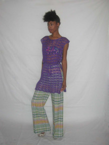 Vintage Time And Place NWT Multi-Color Striped Plaid High Waist Wide Leg Bell Bottom Disco Pants