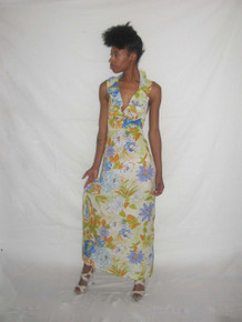 Vintage Pomare Hawaii Multi-Color Floral Print Ruffle Flounce Halter Long Boho Dress