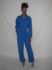 Vintage Multi-Functional Blue Cargo Overall Safari Zipper Belted Pockets Jumpsuit