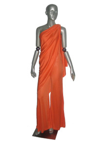 Vintage New Leaf Orange Asymmetrical One Shoulder Overlay Grecian Disco Palazzo Jumpsuit