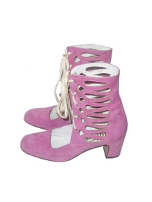 Vintage Absolutely Fabulous Ultima Made In Spain 60s Pink Suede Leather Mod Caged Laced Up Gladiator GoGo Chunky High Heels Shoes Boots