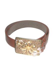 Beaded Impressions Brown Leather Belt w/ Floral Bow Jewels Rhinestone Beaded Buckle