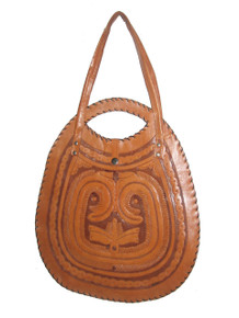 Vintage Tan Brown Hippie Boho Large Tooled Engraved Decorative Inlay Tote Leather Handbag