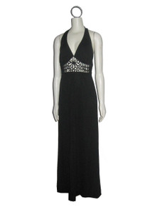 Vintage Mickey, Jrs Of California Black Halter Tie Neck Cut Out Caged Long Disco Grecian Mod Dress
