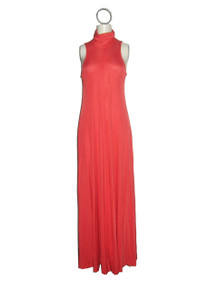 Vintage Joy Stevens Coral Shirred Back Turtle Neck Sleeveless Long Flared Disco Mod Grecian Dress