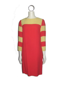 Vintage Yellow Orange Color Block Striped Scoop Neck Short Mod Dress