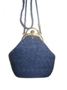 Vintage Hand Made Blue Woven Straw Raffia Gold Metal Lined Cross  Body Cute Little Handbag