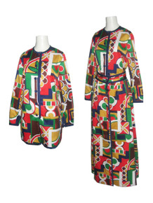 Vintage Tori Richard Multi-Color Romper Jumpsuit Long Skirt 2 Pc Ensemble