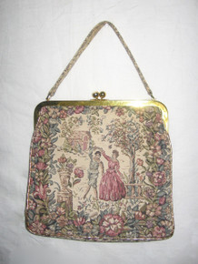 Vintage Large Multi-Color Gold Detail Victorian Lady & Man Floral Tapestry Clasp Closure Handbag