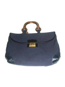 Vintage The Leather Line LL NWT Blue Gold Canvas Leather Wooden Handle Large Flap Closure Tote Handbag