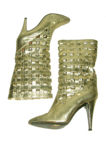 SALE Vintage Mary Popps Metallic Gold High Heel Caged Cut Out Detail Leather Boots